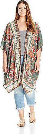 Angie Womens Plus Size Printed Kimono Duster Long Cardigan