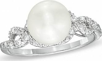 Zales 8.5 - 9.0mm Cultured Freshwater Pearl and 1/10 CT. T.w. Diamond Ring in Sterling Silver