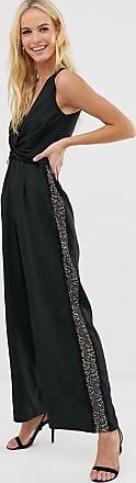 Little Mistress tailored cross over jumpsuit-Black