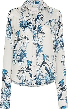 Johanna Ortiz Camisa de seda floral - White Blue