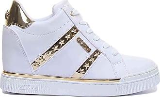 Guess Scarpe Donna Sneaker Alto Modello Fayne in Ecopelle Bianco/Gold DS20GU16