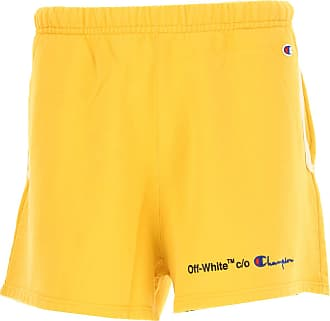 Off-white Shorts for Men On Sale in Outlet, Off White X Champion, Yellow, Cotton, 2017, M