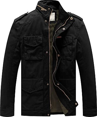 WenVen Mens Stand Collar Classic Cotton Jacket Black Small