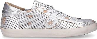 Philippe Model Sneaker low PARIS Kalbsleder Logo Patch Used silber