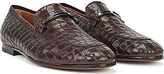 BOSS Crocodile-print loafers in calf leather with hardware trim
