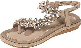Zhuhaixmy Meijunter Womens Summer Flat Sandals Bohemian Rhinestone Sandals Outdoor Flip Flops Thongs Anti-Slip Slippers Beige