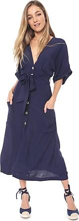 Dress To Vestido Dress to Midi Bolsos Azul-marinho