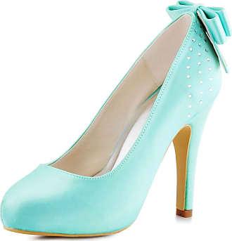 Elegantpark EP11034-IP Women Closed Toe High Heels Satin Bow Knot Rhinestones Platform Wedding Party Court Shoes Mint UK 5