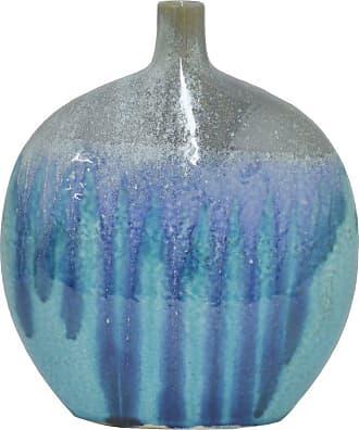 Three Hands 9.5 in. Blue Drip Ceramic Vase - 46019