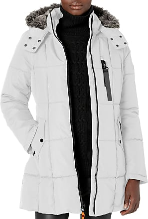 Nautica Womens Puffer with Faux Fur Lined Hood Down Alternative Coat, Bright White, Medium
