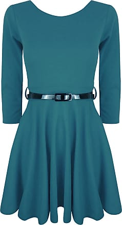 Be Jealous Womens Flared Belted 3/4 Short Sleeves Franki Party Skater Dress Top Apple Green Plus Size UK 20/22