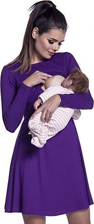Zeta Ville Zeta Ville - Womens Maternity Nursing Layer Dress Round Neck Long Sleeve - 128c (Purple, UK 14/16, XL)