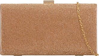 Girly HandBags Diamante Hard Case Clutch Bag Champagne