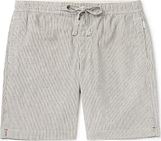 Orlebar Brown Harton Wide-leg Striped Stretch Cotton And Linen-blend Drawstring Shorts - Gray