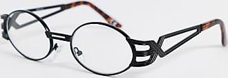 Asos oval fashion glasses in black metal with arm detail and clear lenses-Gold
