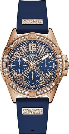 Acotis Limited Guess Watches Guess Ladies Rose Gold Blue Strap Glitz Dial Watch W1160