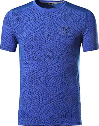 Jeansian Mens Sports Breathable Quick Dry Short Sleeve T-Shirts Tee Tops Running Training LSL185 Blue XL