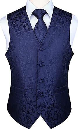 Hisdern Mens Paisley Wedding Party Waistcoat Necktie Pocket Square Handkerchief Jacquard Vest Suit Set Sliver Navy Blue