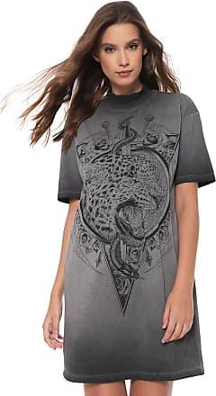 Triton Vestido Triton Curto Estampado Cinza