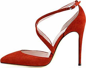 b561d6ca1f0755 Kolnoo Damen Faschion Yaltaise Suede 100MM Cross Strap Sexy High Heels  Schuhe Rot EU44