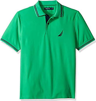 Nautica Mens Performance Wicking and Stain Resistant Solid Polo Shirt, Bright Green, Small