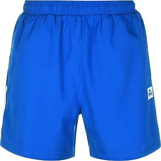Lonsdale Mens Training Two Stripe Woven Athlectic Running Shorts with Safety Pocket Zip, (Blue/White) Size X-Large