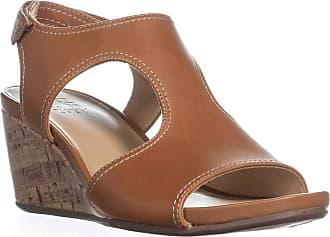Naturalizer Cinda Wedge Sandals, Maple Leather, Maple, Size 7.0 US / 5 UK US
