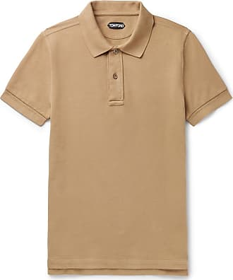 Tom Ford Slim-fit Garment-dyed Cotton-piqué Polo Shirt - Camel