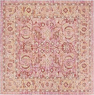 Safavieh WDS341B-6SQ Windsor Collection Premium Wool Square Area Rug, 6, Pink/Orange