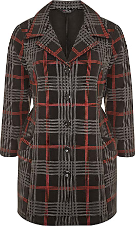Yours Clothing Clothing Womens Check Revere Collar Fleece Coat Size 26-28 Black and Red