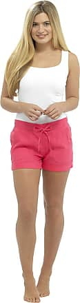 Tom Franks Womens Ladies Solid Colour Rib Waist Turn Up Linen Summer Shortie Shorts - Pink - 16
