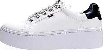 7da5307597a9d6 Tommy Hilfiger Damen ICON Textile Flatform Sneaker, Weiß (White 100), 39 EU