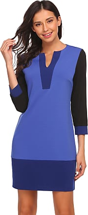 Zeagoo Womens V-Neck Patchwork Dress Blue