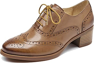 MGM-Joymod Womens Girl Casual Vintage Lace-up Comfort Thick Heel Perforated Wingtip Brogues Oxford Work Office School Dress Shoes (Brown) 6.5 M UK