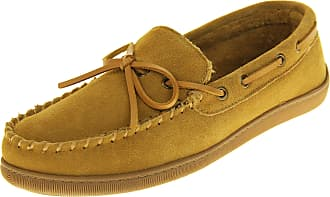 Northwest Territory Mens Leather Moccasin Warm Soft Winter Slippers Tan UK 10