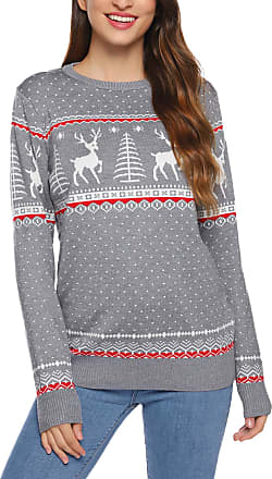 Aibrou Women Ugly Christmas Round Neck Jumper Reindeer Snowflakes Sweater Long Sleeve Vintage Knit Xmas Pullover Sweater Parent-Child Outfit(2 Gray,Mum XXL)