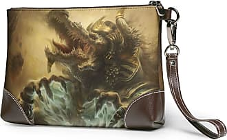 GLGFashion Womens Leather Wristlet Clutch Wallet Crocodile Picture Storage Purse With Strap Zipper Pouch