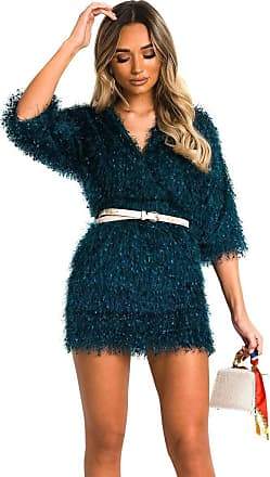 Ikrush Kimberley Fuzzy Mini Bodycon Dress Teal UK S/M