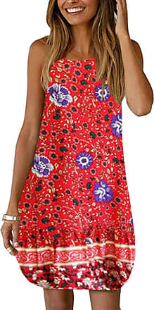 Yoins Womens Summer Mini Dresses Random Floral Print Sleeveless Crew Neck Mini Length Beach Sundress 30 UK 14-16