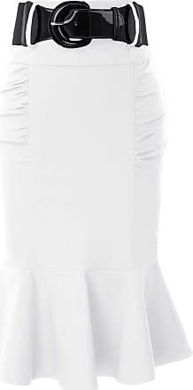 Belle Poque Retro Ladies Plain High Waist Fishtail Hem Tea Skirts for Party with Belt White(627-8) Large
