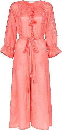 Vita Kin Vestido midi de linho com bordado - Rosa