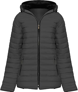 WearAll Womens Plus Puffa Padded Coat Jacket Ladies Hooded Zip Long Sleeve Lined Pocket - Black - 22-24