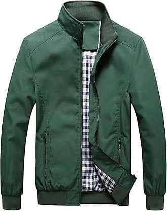 Inlefen Mens Casual Jacket Outdoor Sportswear Windbreaker Lightweight Keep Warm Slim Fit Stand Collar Coats(Army Green/5XL)