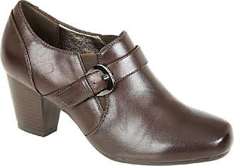 Boulevard Anna Heeled Buckle/Gusset Mid Heel Fashion Shoes - Brown PU, Ladies UK 5 / EU 38