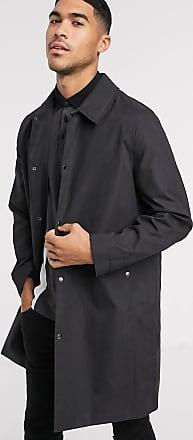 Topman Schwarzer Mantel aus beschichteter Baumwolle