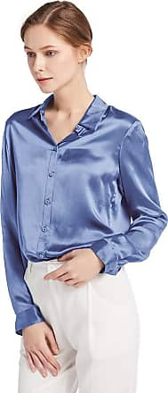 LilySilk Womens 100 Charmeuse Silk Blouse for Lady Long Sleeve Top 22 Momme Pure Silk (XL/18, French-Blue)