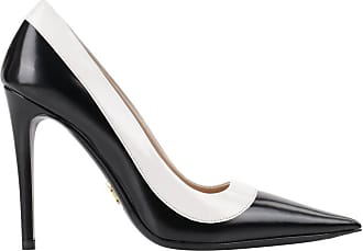 36828377be40 Prada C.2013 spazzolato Bicolor Black   White Leather Pointed Toe Pumps