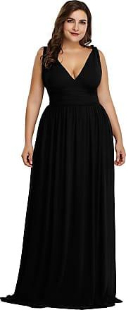 Ever-pretty Womens Double V Neck Floor Length A line Empire Chiffon Long Semi-Formal Dress Black UK22 Plus Size