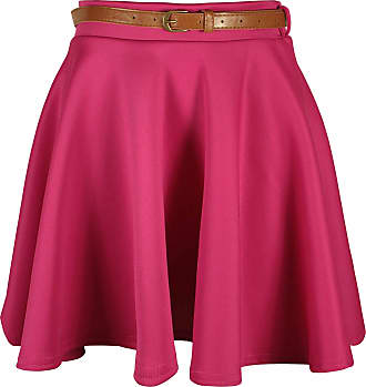 Purple Hanger Womens New Plain Formal Skater Flared Ladies Detachable Belted Frankie Mini Short Stretch Work Party Skirt Cerise Size 8-10