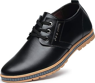 LanFengeu Men Dress Shoes Comfortable Round Toe Lace up Flats Male Business Office Height Increasing Casual Leather Shoe Black